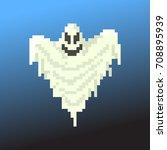 pixel character ghost for games ... | Shutterstock .eps vector #708895939