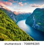 splendid summer sunset of... | Shutterstock . vector #708898285