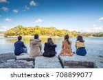 group of five close friend sits ... | Shutterstock . vector #708899077