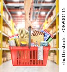 hand hold a shopping basket...   Shutterstock . vector #708900115