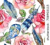 watercolor bird feather pattern ...   Shutterstock . vector #708903115