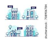 set of urban and suburban... | Shutterstock .eps vector #708906784