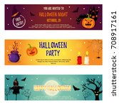 set of halloween banners with... | Shutterstock .eps vector #708917161
