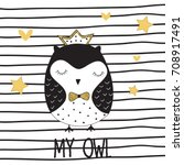 cute owl girl princess vector... | Shutterstock .eps vector #708917491