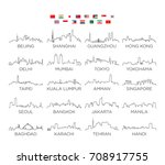asia skyline city line art ... | Shutterstock .eps vector #708917755