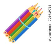 set of color pencils for... | Shutterstock . vector #708919795