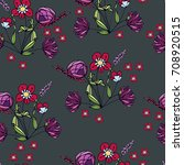 seamless pattern with cute... | Shutterstock .eps vector #708920515