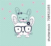 Stock vector cute bunnies cartoon happy easter pattern vector illustration 708921355