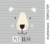 cute bear face on striped... | Shutterstock .eps vector #708921709
