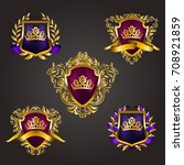 set of golden royal shields... | Shutterstock .eps vector #708921859