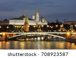 moscow kremlin at night | Shutterstock . vector #708923587