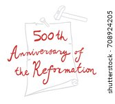 500th anniversary of the... | Shutterstock .eps vector #708924205