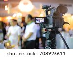 close up of video camera... | Shutterstock . vector #708926611