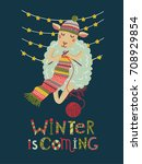 lovely winter card with a lamb  ... | Shutterstock .eps vector #708929854