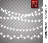 christmas lights isolated on... | Shutterstock .eps vector #708936679