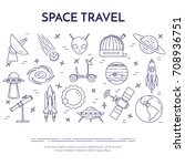 Space Travel Line Banner. Set...
