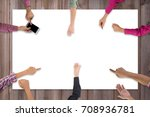 top view of business team... | Shutterstock . vector #708936781