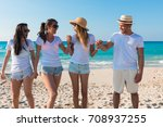 group of young boys enjoying on ... | Shutterstock . vector #708937255