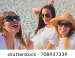 group of girls laughing excited ... | Shutterstock . vector #708937339