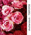Stock photo seamless red and pink fabric roses background 70893958