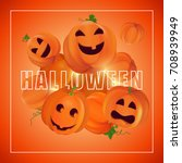 halloween vector illustration.... | Shutterstock .eps vector #708939949