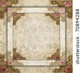 A layered style antique border illustration with roses. - stock photo