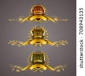 set of golden royal shields... | Shutterstock .eps vector #708943135