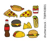 fast food doodle icons | Shutterstock .eps vector #708943801