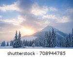 winter landscape with spruce... | Shutterstock . vector #708944785