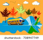 pencil bus driving kids to... | Shutterstock .eps vector #708947749