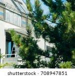 installing sun protection...   Shutterstock . vector #708947851