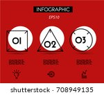 three red geometric infographic ... | Shutterstock .eps vector #708949135