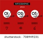 three red double linear arrows... | Shutterstock .eps vector #708949231