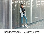 stylish beautiful model girl... | Shutterstock . vector #708949495