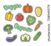 set of vegetables related... | Shutterstock .eps vector #708949579