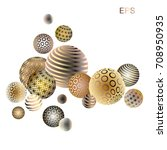 gold with mother of pearl balls....   Shutterstock .eps vector #708950935