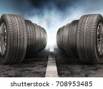 Car Tires Standing On The Road...