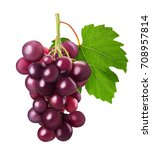 ripe bunch red grape with leaf... | Shutterstock . vector #708957814