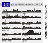 most famous europe cities... | Shutterstock .eps vector #708961099