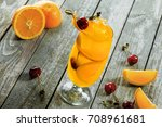 alcoholic punch cocktail made...   Shutterstock . vector #708961681