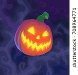 halloween night blurred... | Shutterstock .eps vector #708964771