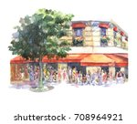 beautiful landscape of cafes... | Shutterstock . vector #708964921