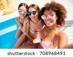 selfie time  girls  three... | Shutterstock . vector #708968491