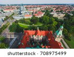 Stock photo beautiful super wide angle summer aerial view of hannover germany lower saxony seen from 708975499