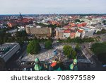 Stock photo beautiful super wide angle summer aerial view of hannover germany lower saxony seen from 708975589