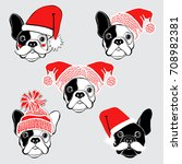 new year's  french bulldog.... | Shutterstock .eps vector #708982381