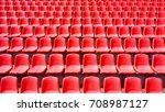 many rows of red plastic seats... | Shutterstock . vector #708987127
