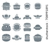 burger logo icons set. simple... | Shutterstock .eps vector #708991891