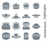 burger logo icons set. simple... | Shutterstock .eps vector #708991891