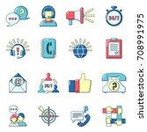 call center icons set. carrtoon ...   Shutterstock .eps vector #708991975